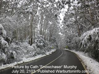 Snow on road to Mt Donna Buang - July 2013