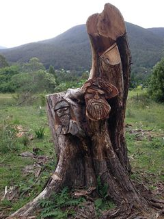 Yuonga Road tree trunk sculptures in Warburton