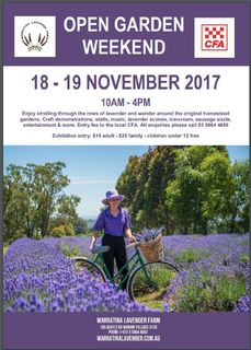 18 - 19 November 2017 - Warratina Lavender Open Garden Weekend  Ph: 03 5964 4650