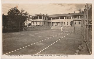The Warburton Chalet - Rose Series Postcard 3430 - Tennis Court