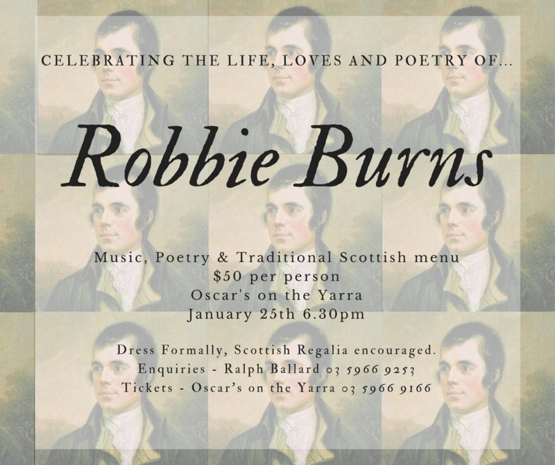 Burns Night : Thursday 25 January 2018